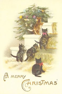 "A Merry Christmas Cavallini Paper & Co. 2005 unused from a set of 18 postcards in a tin - 3 of each different cards click on the ""Christmas Cats"" tag on the right to see all 6 cards in the set"