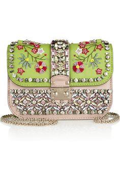 Valentino|Glam Lock hand-embellished leather shoulder bag|NET-A-PORTER.COM