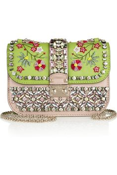 Valentino | Glam Lock hand-embellished leather shoulder bag | NET-A-PORTER.COM