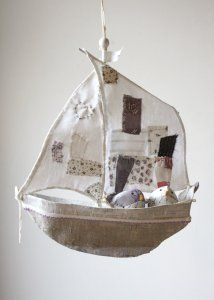 Fabric boat with two little birds, but it could be the owl and the pussycat. Ann Wood, Paper Mache Crafts, The Pussycat, Fabric Animals, Little Birds, Softies, Fiber Art, Diy And Crafts, Crafty
