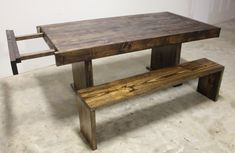 6ft to 8ft expandable wood farmhouse table and bench from James+James.