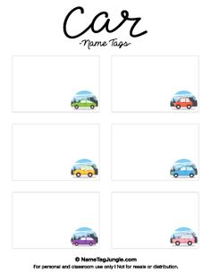 A large collection of free printable name tags. The themes include animals, holidays, sports, and more. Printable Name Tags, Name Tag Templates, Nametags For Kids, Name Labels, Free Cars, Kid Names, School Stuff, Free Printables, Place Cards