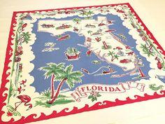 Vintage Florida tablecloth  red white and blue flamingos palm trees 1940s Mid Century souvenir Floridiana kitsch