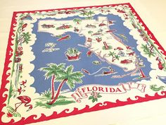 Vintage Florida tablecloth  red white and blue flamingos palm trees 1940s Mid Century souvenir Floridiana kitsch