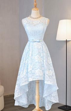 Sky Blue Party Dresses,Lace High Low Homecoming Dress,Sweet 16 Cocktail Dresses,Round Graduation Dresses,Homecoming Dress