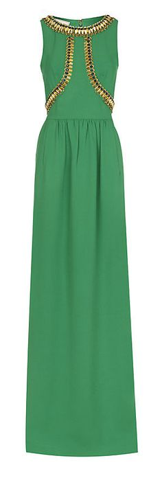 Temperley London Emerald Green Golinda Gown with Opulent Golden Bead and Blue Crystal Embellishment