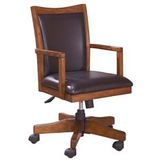 Cross Island Home Office Swivel Desk Chair Medium Brown - Signature Design by Ashley
