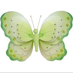 Butterfly Decorations 10 Medium Green  White Triple Layered Nylon Hanging Butterflies Decorate for a Baby Nursery Bedroom Girls Room Ceiling Wall Decor Wedding Birthday Party Bridal Baby Shower Bathroom Kids Childrens Butterfly Decoration 3D Art Craft *** Learn more by visiting the image link. (Note:Amazon affiliate link)