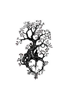Tree tattoo design with kids reading