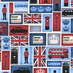 FAT QUARTER LONDON QUILT FABRIC MEDLEY