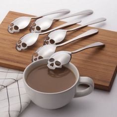 Just US$2.99 + free shipping, buy Skull Shape Stainless Steel Teaspoon online shopping at GearBest.com.