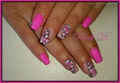 Bluesky gel polish N27 http://radi-d.blogspot.com/2015/06/pink-nails-and-one-stroke-flowers.html