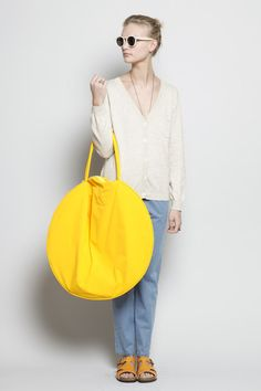 Highlighter yellow, LEVEL III: Somehow, the pared-down shape of this Draft No. 17 by Jasmin Shokrian bag just makes the hue look brighter. Duh, in a good way.