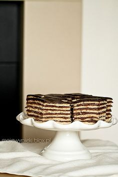 Famous since 1885, Hungarian Dobos torte. Made with 8 layers of biscuits, layered with a cooked butter cream.