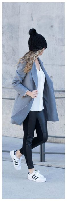 awesome Gray Coat and Black Leggings. Adidas Superstar Tennis Shoes. Winter Outfit. Grey...
