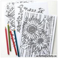 Quirky Botanicals 4 - a printable 3 page Colouring Booklet by Floating Lemons at Etsy.