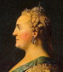 """Catherine II devant le miroir, Erichsen, détail, le reflet a une expression plus dure que le portrait, l'impératrice l""""amie des Lumières"""", est surtout l'autocrate la plus esclavagiste qu'ait connue l'Empire russe (elle a renforcé le servage en Russie et l'a introduit en Ukraine). -En 1773, Catherine s'inspirant des principes de la décentralisation et de la séparation des pouvoirs, institue des gouverneurs et un nouveau corps consultatif, le conseil de l'Empire."""