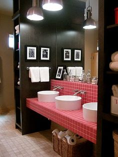 The vanity in the bathroom built like a dorm I would love for my boys.  Plenty of room for everyone!