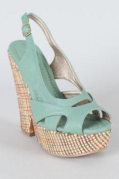 sea green peep toe sandal