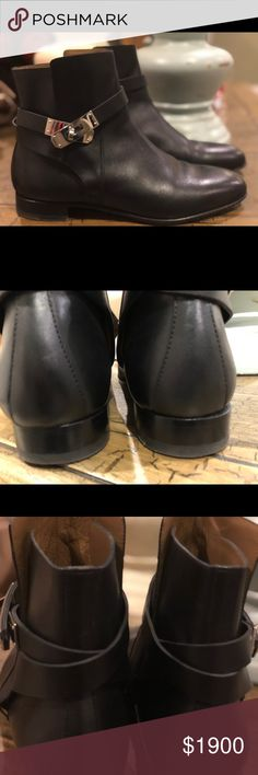 Hermes Black Kelly Shoes Hermes leather skin, authentic Hermes Shoes Ankle Boots & Booties