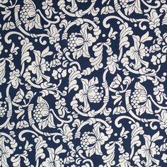 Dark Navy/White Floral Printed Stretch Cotton Poplin