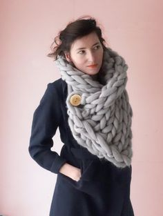 Chunky Knit Scarf Snood Snoodscarf Wool Cowl Knitted by PANAPUFA