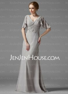 Mother of the Bride Dresses - $100.99 - Empire V-neck Floor-Length Chiffon  Charmeuse Mother of the Bride Dresses With Ruffle  Lace  Beading (008003198) http://jenjenhouse.com/Empire-V-neck-Floor-length-Chiffon--Charmeuse-Mother-Of-The-Bride-Dresses-With-Ruffle--Lace--Beading-008003198-g3198