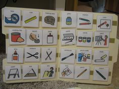 picture schedule for special needs want to try this need, velcro, laminated cards, file folders Special Needs Art, Special Kids, Art Classroom Management, Art Handouts, Sensory Art, Speed Art, Arts Ed, Special Education Teacher, Elementary Art