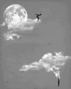 moon, clouds, and sky image Photo D Art, Photocollage, Surreal Art, Photo Manipulation, Belle Photo, White Photography, Collage Art, Illustration Art, Street Art