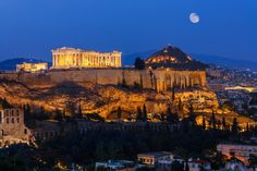 Moon setting over Athens