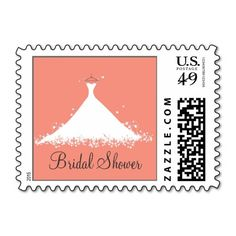 Bridal Shower in Coral Stamps
