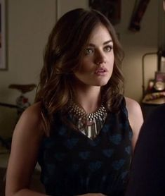 Aria's black dress with blue hearts on Pretty Little Liars.  Outfit details: http://m.wornontv.net/4379/