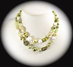 Vintage Jewelry Necklace Japan Multi Strand Greens White Glass Beaded Necklace Item CB 100932
