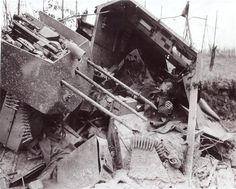 Dead Germans and a FlaK anti-aircraft gun placement.