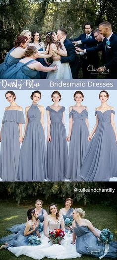 dusty blue wedding color combo ideas with bridesmaid dresses 2021#wedding #weddinginspiration ##bridalparty #maidofhonor #weddingideas #weddingcolors #tulleandchantilly #tulleandchantillyweddingblog Modern Bridesmaid Dresses, Wedding Dresses, Dusty Blue Weddings, Country Kitchens, Maid Of Honor, Weddingideas, Wedding Colors, Braid, Tulle