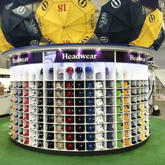 Our headwear display at #TheOpen! Today's the day...Who will get their hands on the Claret Jug?