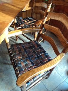 Recycled Belts: Renewed Rush Seat Chairs