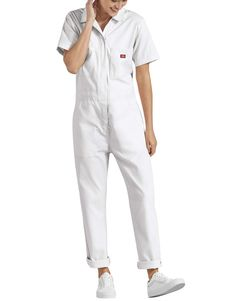 White Overalls, Overalls Outfit, Overalls Women, White Jumpsuit, Women Pants, Dickies Coveralls, Lifestyle Clothing, Office Dresses, Trendy Outfits