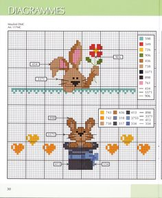 bunnies cross stitch. Punto cruz conejos
