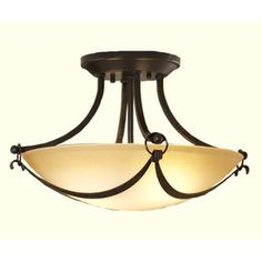 Shop allen + roth 15-1/4-in W Drape Imperial Bronze Marbleized Semi-Flush Mount Light at Lowes.com