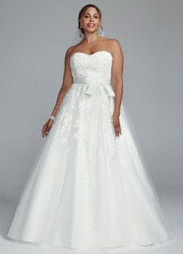 Classically styled and beautifully designed for the perfect look on your wedding day!  Strapless bodice features stunning beaded lace applique detail.  Tulle ball gown adds just the right amount of drama.  Chapel train. Sizes 16W-26W.  Available in Soft White in stores and online. Whiteavailableby special order only.  Missy: Style MK3666. Sizes 0-14. Available by special order only.  Fully lined. Back zip. Imported polyester. Dry clean. To preserve your wedding ...