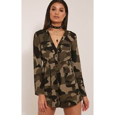 Tannie Camouflage Print Pocket Detail Playsuit ($19) ❤ liked on Polyvore featuring jumpsuits, rompers, green, green romper, camouflage romper, brown romper, green rompers and sexy romper