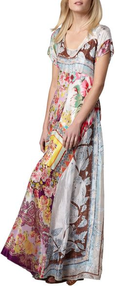 Johnny Was Collection Printed Georgette Maxi Dress -  multicolor tropical-print georgette dress; includes slip