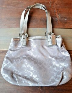 Silver Sparkly Coach Purse Shiny Gray Signature Coach Embroidered Logo Hobo  Bag 93f2a34dd4557