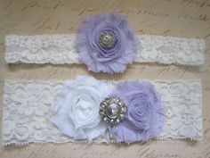 Light Purple Wedding Garter Set - Choose White or Ivory & Rhinestone or Pearl. $20.00, via Etsy. lilac lavender purple