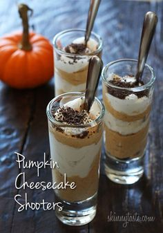 "When you need a ""little"" treat, these delicious pumpkin cheesecake shooters are the perfect sweet fix. Perfect to serve at Halloween party or to add to your Thanksgiving table!  I love the idea of serving bite sized desserts at a party, it's perfectly portioned, and if there are other desserts on the table, it's just the right amount. You can buy inexpensive shot glasses at the dollar store and if you are bringing a dessert to a party, you can even give the shot glasses to t..."