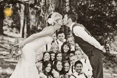 Adorable Wedding Party Kissing Photo