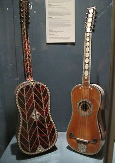 Jaw-dropping Baroque guitars: Left: Voboam (Paris, 1697), Right: Attributed to Giacomo Ertel (Rome, late 17th century)