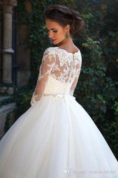 2016 Millanova Half Sleeve Wedding Gowns Sheer Jewel Beaded Sash Button Garden Bride Gown Bridal Dresses Arabic Dubai robe de mariage Cheap