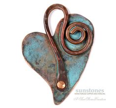 DO NOT PURCHASE UNLESS YOU ARE KAT This heart shaped pendant component was fabricated from a sheet of annealed copper, which I designed, hand cut, and hammered with texture. I formed a bail from annealed copper wire and riveted it to the heart using a handmade copper rivet. The entire pendant was tumbled overnight, then given a patina. Attach this pendant to your beaded necklace or cord. Height 1 1/2. ITEM: PN348 To see more handmade findings, click here: https://www.etsy.com...